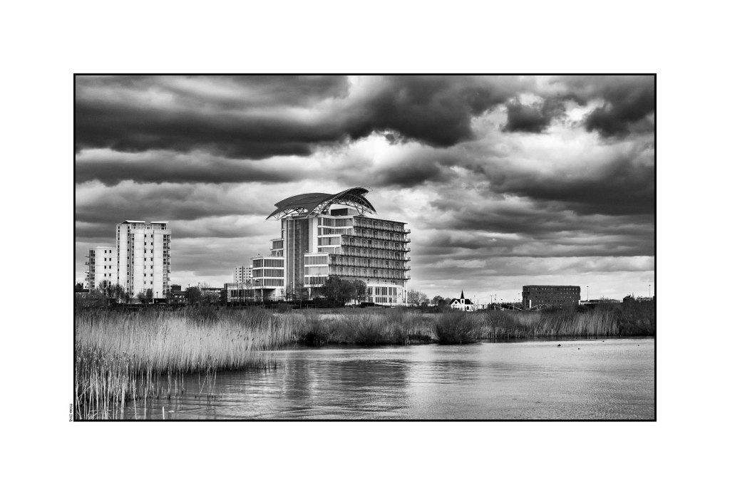 St David's Hotel & Norwegian Church from Wetlands - Cardiff Bay 2016 low srgb